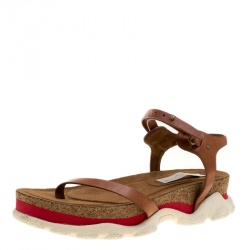 bdd4eebd751 Stella McCartney Brown Faux Leather Altea Platform Slides Size 39