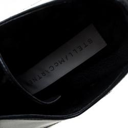 Stella McCartney Black Faux Leather Leana Wooden Wedge Lace Up Derby Size 36
