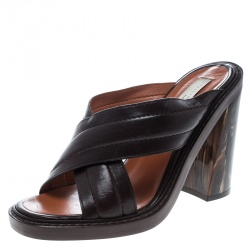 c76d9b85cee Stella McCartney Brown Quilted Faux Leather Veneer Criss Cross Block Heel Mules  Size 39