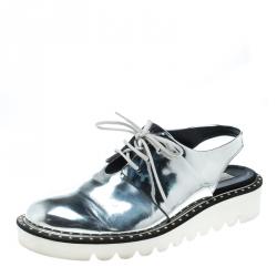 a7323a3c36a Stella McCartney Metallic Silver Faux Leather Odette Slingback Derby Size 41