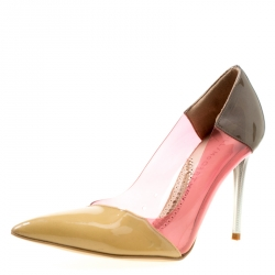 9ea58daad7e9 Stella McCartney Multicolor Patent Faux Leather and PVC Pointed Toe Pumps  Size 36