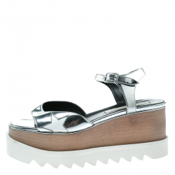 c08b200f1faf Stella McCartney Silver Faux Leather Indium Elyse Star Wedge Sandals Size 38