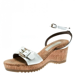 f2720511a Stella McCartney White Faux Patent Leather Linda Cork Wedge Sandals Size 40