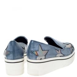 Stella McCartney Blue Faux Leather Binx Star Slip-On Platform Sneakers Size 36