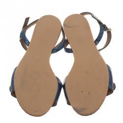 Stella McCartney Blue Faux Croc Linda Flat Sandals Size 41