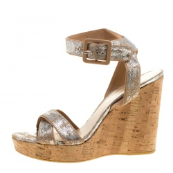 d5a7eb844a2 Stuart Weitzman Metallic Silver Embossed Suede Cross Strap Cork Wedge  Sandals Size 40.5