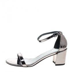 19500e8a1 Stuart Weitzman Metallic Silver Leather Simple Chorus Ankle Strap Open Toe  Sandals Size 39