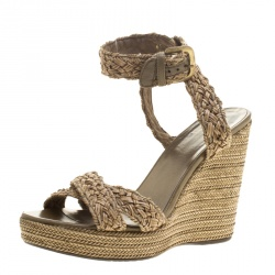 33a952b109d Stuart Weitzman Beige Woven Leather Espadrille Wedge Sandals Size 39