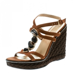 2292f5088 Stuart Weitzman Brown Nubuck Leather Platform Wedge Ankle Strap Sandals  Size 39.5