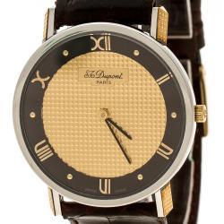 ساعة يد نسائية أس.تي.دوبونت ستانلس ستيل مطلية ذهب مينا ذهبية 32 مم