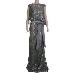Tadashi Shoji Grey Sequin Belted Gown XXL