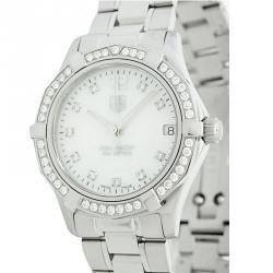 61be8bf394e Tag Heuer White Stainless Steel Diamond Aquaracer Women s Wristwatch 32MM