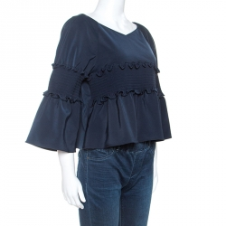 Tibi Navy Blue Stretch Jersey Smocked Detail Bell Sleeve Top M