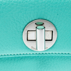Tiffany & Co. Turquoise Leather Turnlock Wallet