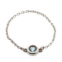 f8a80563b Tiffany & Co. Elsa Peretti Color by the Yard Aquamarine Silver Ring Size 58