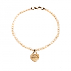 309cd041a Tiffany & Co. Return to Tiffany Heart Tag Freshwater Pearl Silver Beads  Bracelet