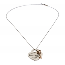 Tiffany & Co. Sterling Silver Return To Tiffany Love Heart Tag and Key Charm Necklace
