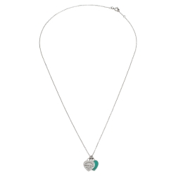 Tiffany & Co. Return to Tiffany Mini Double Heart Tag Pendants Enamel and Silver Chain Necklace