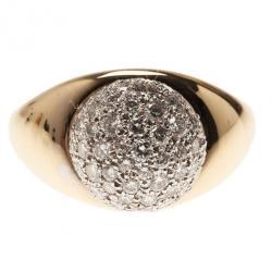 Tiffany & Co. Vintage Paloma Picasso 18K Yellow Gold Diamond Pavé Ball Ring Size 50