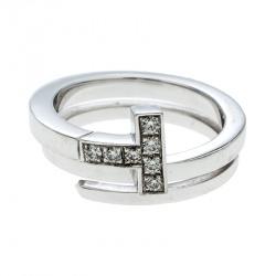 314f5fb9a41 Tiffany   Co. Tiffany T Wrap Diamond 18k White Gold Ring Size 50