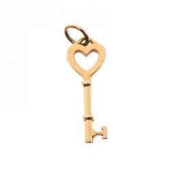 Tiffany & Co. Heart Key 18k Yellow Gold Mini Pendant