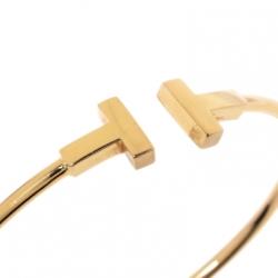 Tiffany & Co. T Wire 18K Yellow Gold Narrow Open Bracelet