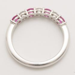 Tiffany & Co. Diamond and Pink Sapphire Band Ring Size 52.5