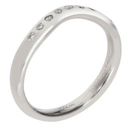 Tiffany & Co. Elsa Peretti Platinum Curved 0.1 CTW Diamond Wedding Ring Size 50.5