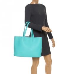 Tiffany & Co Aqua Green Leather Shopper Tote