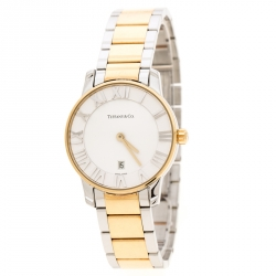 0753c243637 Tiffany   Co. Silver White Yellow Gold Plated Stainless Steel Atlas Women s  Wristwatch ...