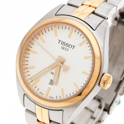 Tissot Silver White Two-Tone Stainless Steel PR100 Women's Wristwatch 39 mm