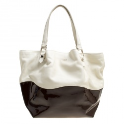ac01d39af9 Tod's White/Burgundy Leather and Patent Leather Medium Flower Tote