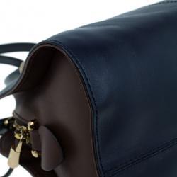 Tod's Navy Leather Small Sella Bowler Bag