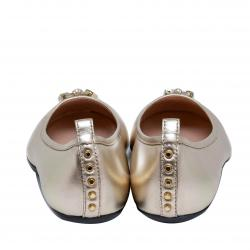 Tod's Gold Leather Tassel Ballet Flats Size 39.5