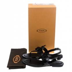 Tod's Black Patent Leather Bow Detail Flat Thong Sandals Size 41