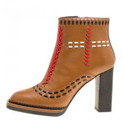 9719c6e559d Tod's Brown Leather Gipsy Cross Stitch Detail Block Heel Ankle Boots Size 36