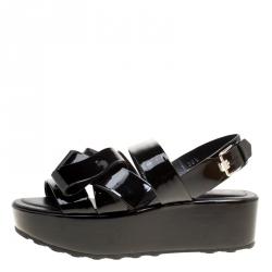 Tod's Black Patent Leather Slingback Platform Sandals Size 38.5