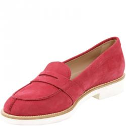 051f8dbb6f17 Tod's Red Nubuck Leather Loafers Size 38
