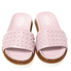 Tod's Pink Leather Studded Flat Slides Size 38