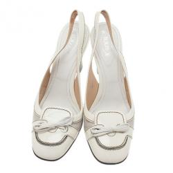 Tod's White Leather Bow Slingback Sandals Size 40