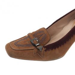 Tod's Brown Suede Embroidered Pumps Size 39
