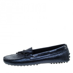 Tod's Metallic Blue Foil Leather Bow Loafers Size 39