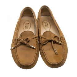 Tod's Beige Suede Bow Loafers Size 39.5