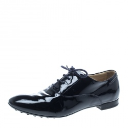 Tod s Navy Blue Patent Leather Lace Up Derby Size 38 afc08841b
