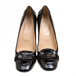 Tod's Black Patent Leather Crystal Stud Penny Loafer Pumps Size 40