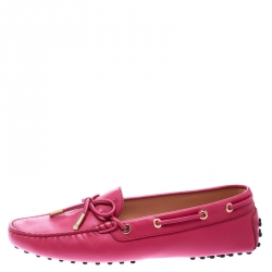Tod's Purple Leather Bow Loafers Size 40