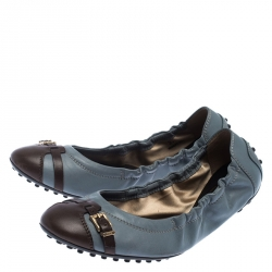 Tod's Ash Blue and Brown Leather Cap Toe Buckle Detail Scrunch Ballet Flats Size 37