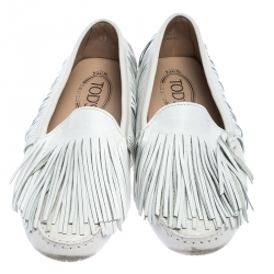 Tod's White Leather Yorky Gommino Fringe Loafers Size 37