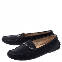 Tod's Black Leather Double T Slip On Loafers Size 35
