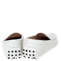 Tod's White Leather Studded Penny Loafers Size 38.5